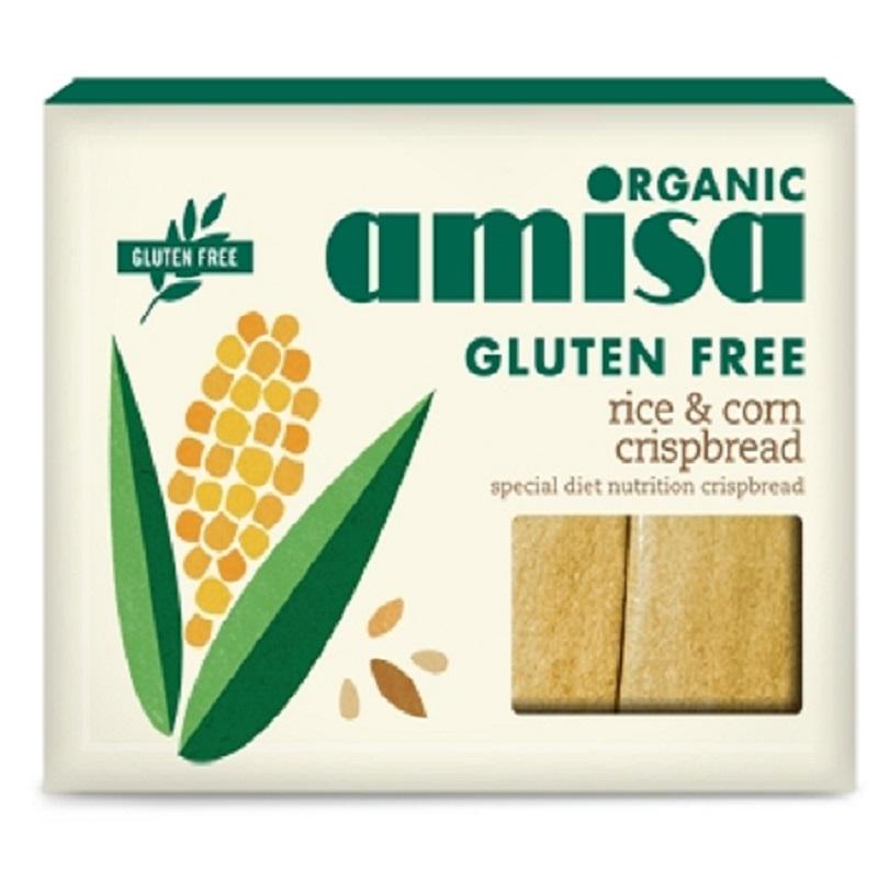Crișpbread (păinici) din orez și porumb fără gluten bio, 120g, Amisa