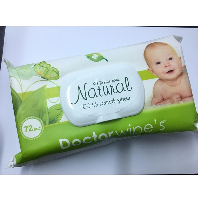 Doctor Wipe's Natural servetele umede pentru copii cu capac 72buc