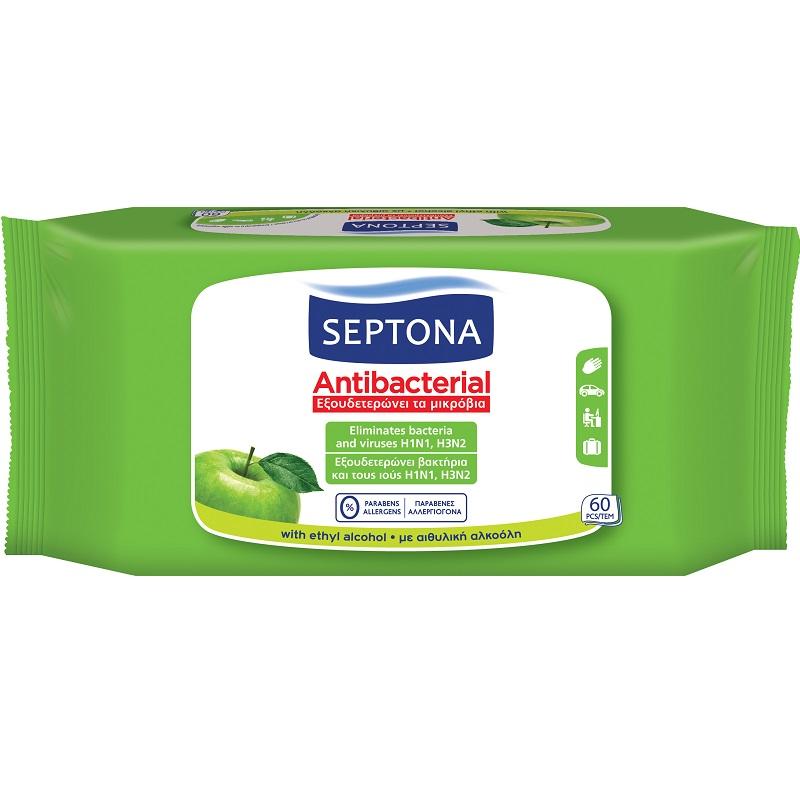 Șervețele umede antibacteriene cu măr verde, 60 buc, SESE1400, Septona