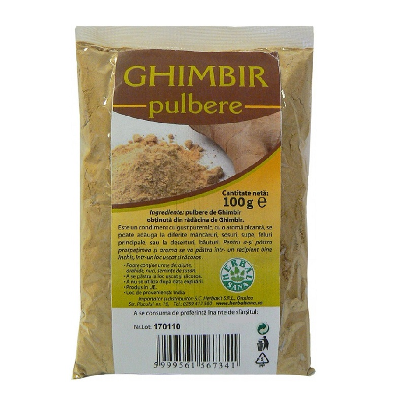 Ghimbir pulbere, 100 g, Herbal Sana