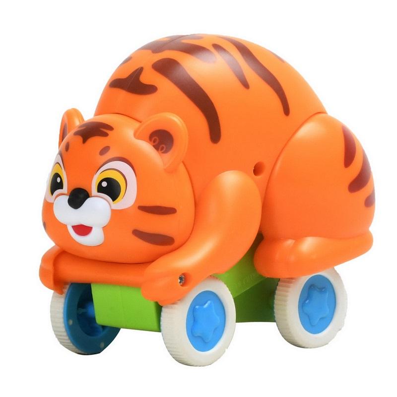 Jucărie pentru bebe, Tigruțul buclucaș, Push and Go, 3120A, Hola