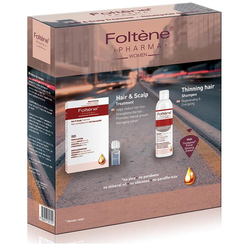 Kit Tratament împotriva căderii părului și Șampon regenerant și energizant pentru Femei, Foltene