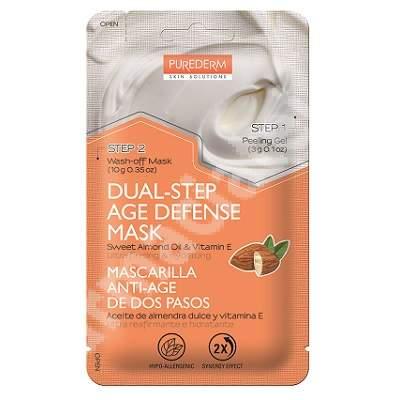 Masca gel si crema in 2 pasi pentru ultra fermitate si hidratare Age Defense, 10 + 3 g, Purederm