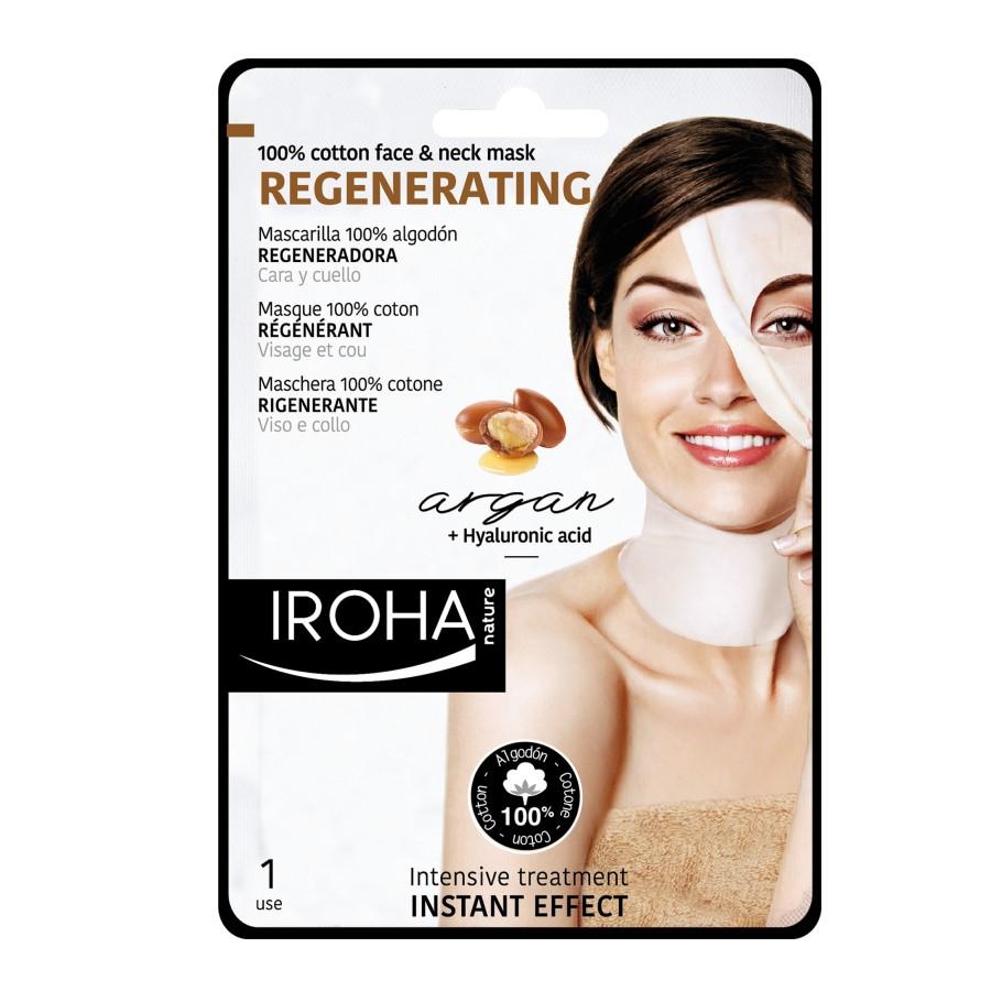 Mască regenerantă pentru față și gat pe suport textil, 30 ml, Iroha