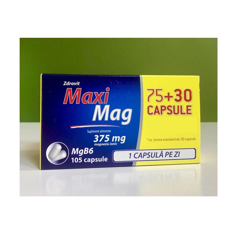 Maxi Mag 375 mg, 75 capsule+30 capsule, Zdrovit