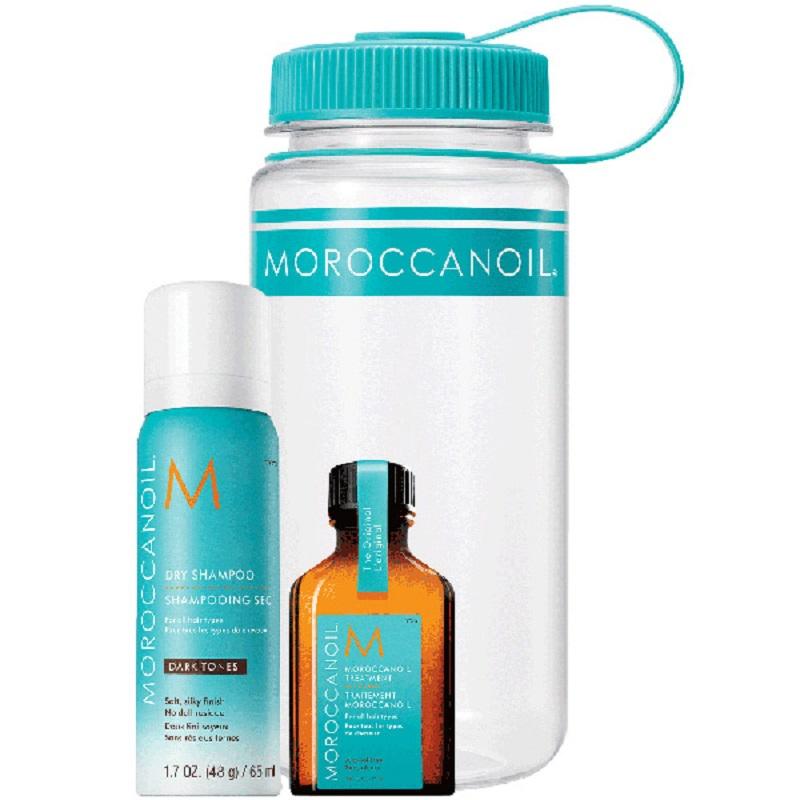 Set Șampon uscat pentru par închis la culoare, 65 ml și Ulei tratament, 25 ml, Moroccanoil