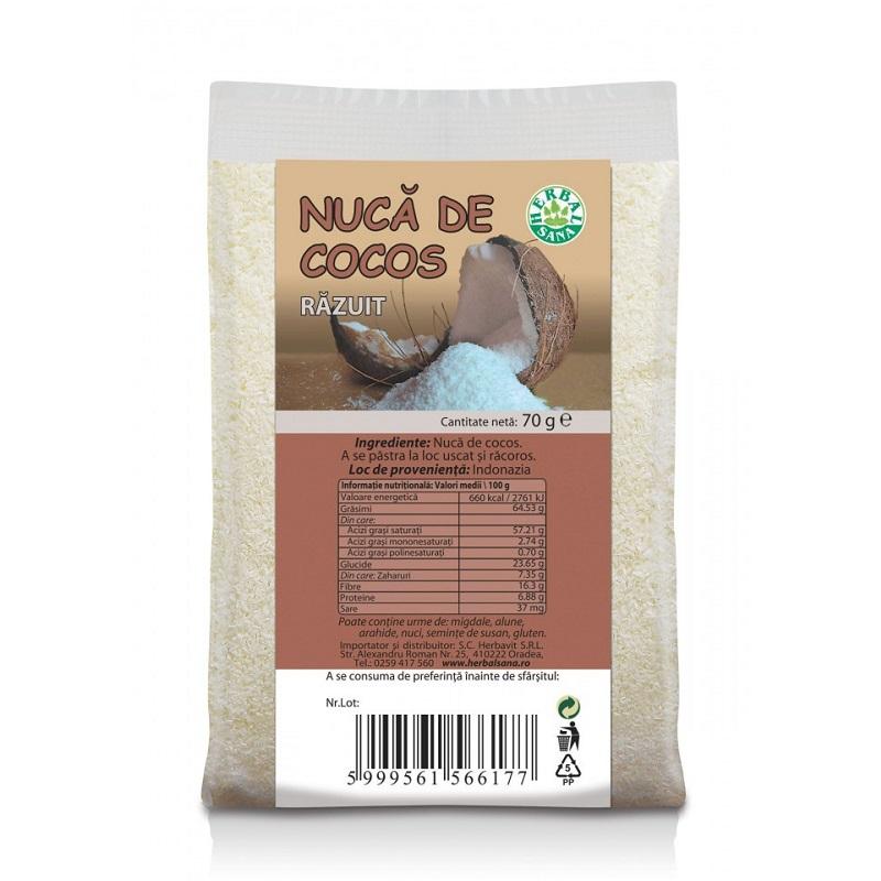 Nucă de cocos răzuită, 70 g, Herbal Sana