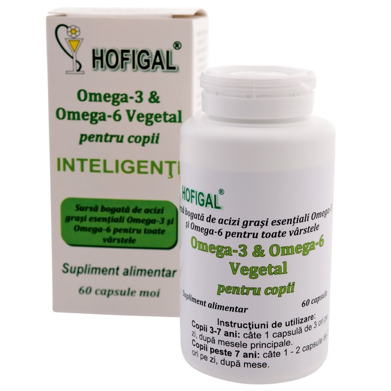 Omega 3-6 vegetal copii inteligenti, 60 capsule, Hofigal