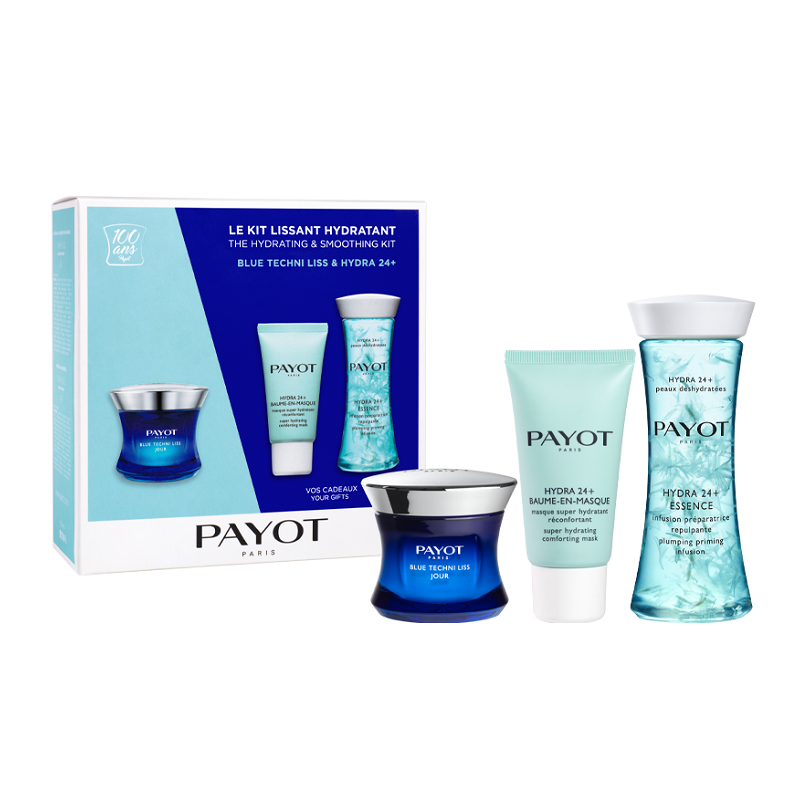 Pachet Blue Techini Liss & Hydra 24+ Cremă Crono-Catifelantă pentru zi 50 ml + Mască Hidratantă 15 ml + Infuzie Hidratantă 125 ml, Payot