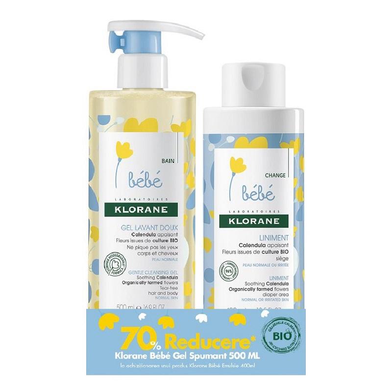 Pachet Gel spumant pentru păr și corp, 500 ml + Unguent pentru zona scutecului, 400 ml - 70% reducere, Klorane Bebe