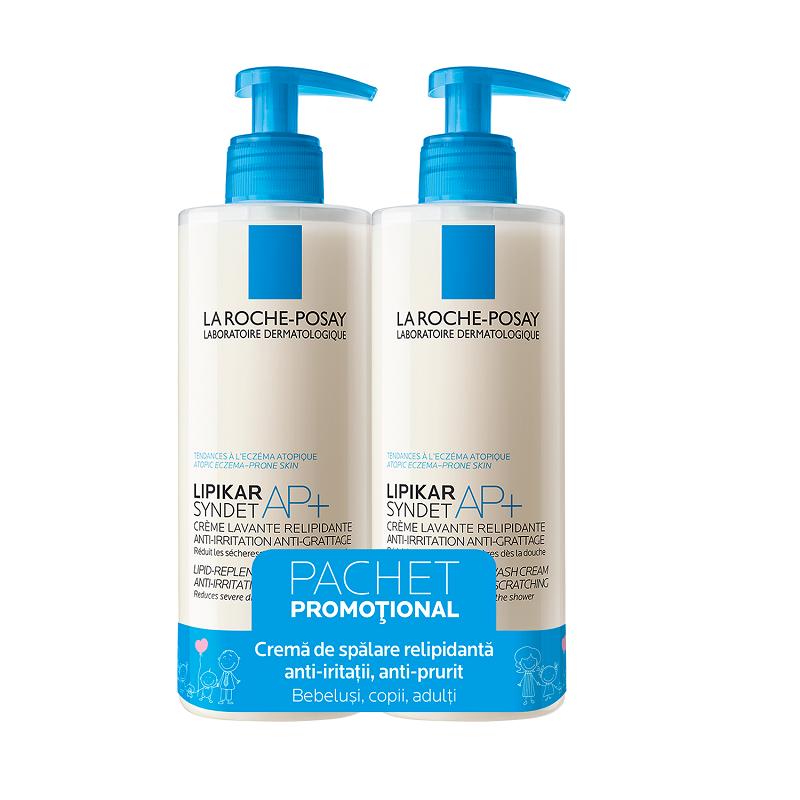 Pachet Lipikar Synder AP+ Gel de curățare pentru piele cu tendință atopică, 400 ml + 400 ml, La Roche Posay