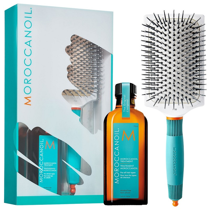 Pachet Tratament pentru toate tipurile de păr 100ml + Perie de păr, Moroccanoil