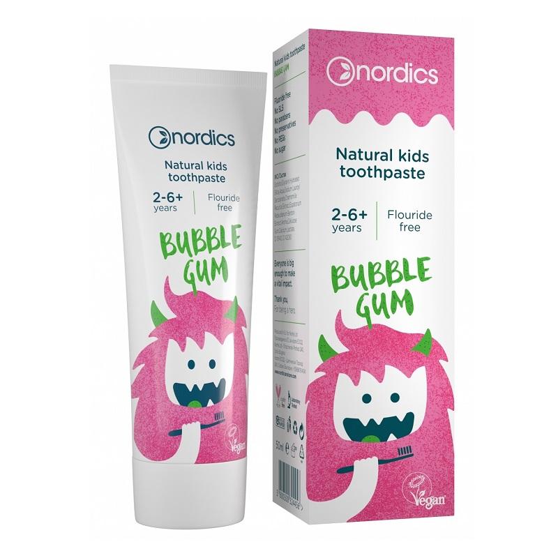 Pastă de dinți naturală pentru copii, Bubble Gum, 50 ml, Nordics