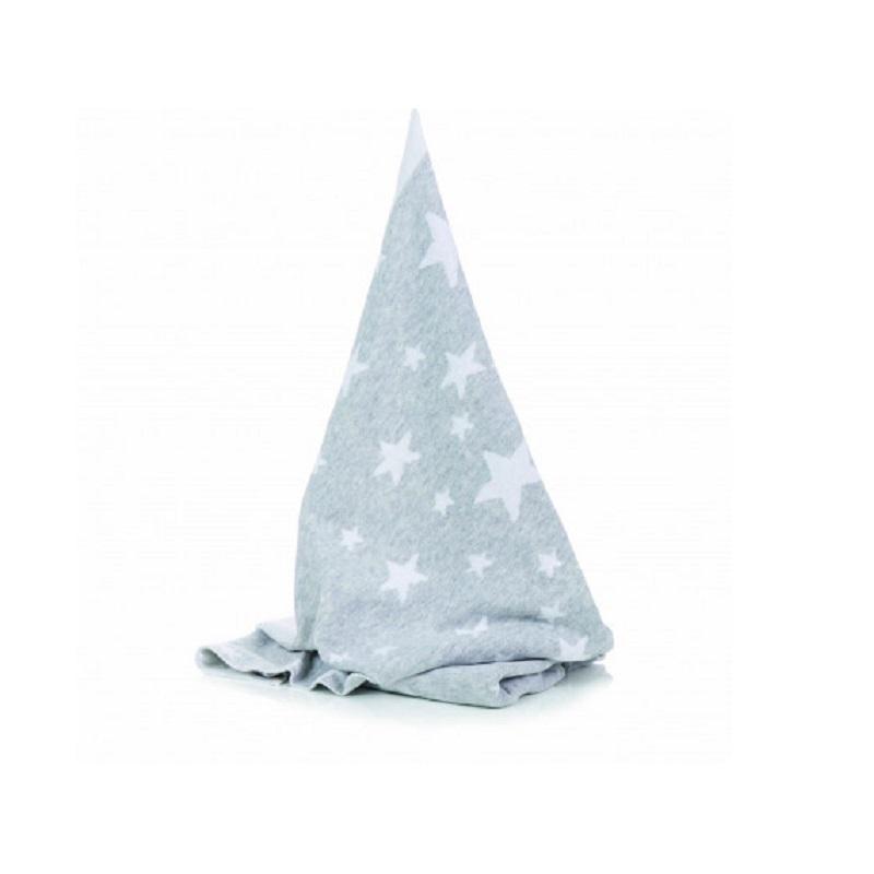 Păturică din bumbac Gri deschis cu steluțe albe, 75x100 cm, 1600-07, Fillikid