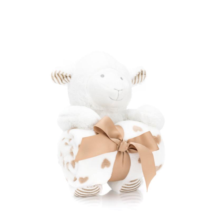 Păturică pufoasă, 90x70 cm, cu jucărie Oiță, 24 cm, 5337-01, Fillikid