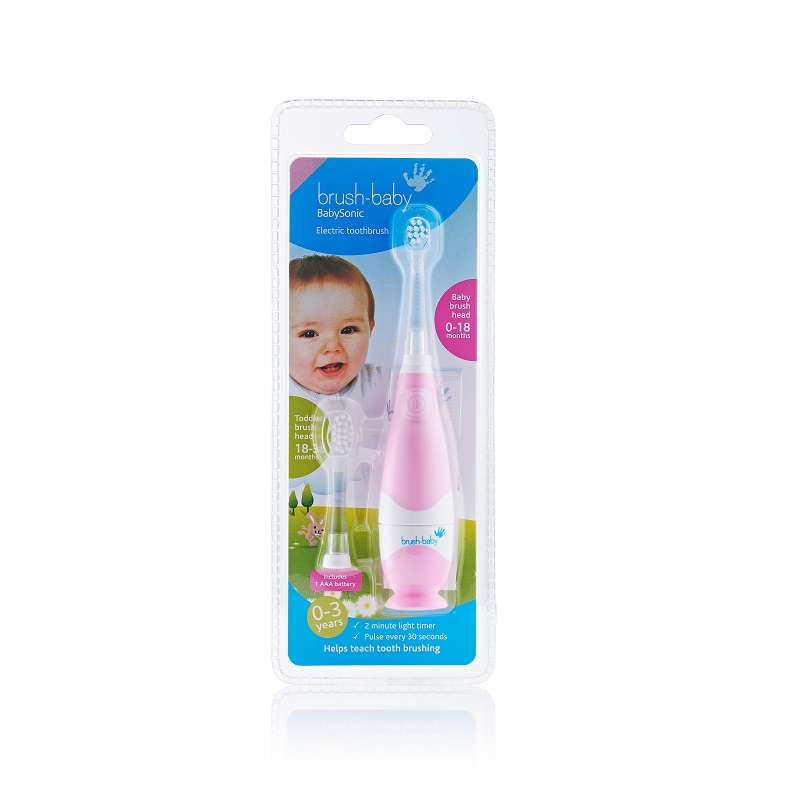 Periuța de dinți electrică BabySonic Pink, 0-3 ani, BRB158, Brush Baby