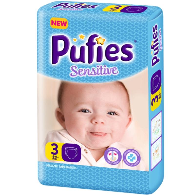 Scutece Sensitive, Nr 3, big pack midi, 100 buc, Pufies