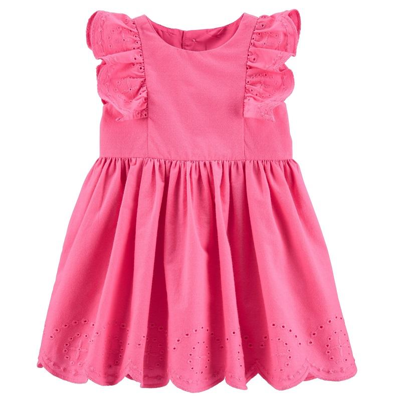 Rochiță Roz cu volănașe, 9 luni, 1H313210, Carter's