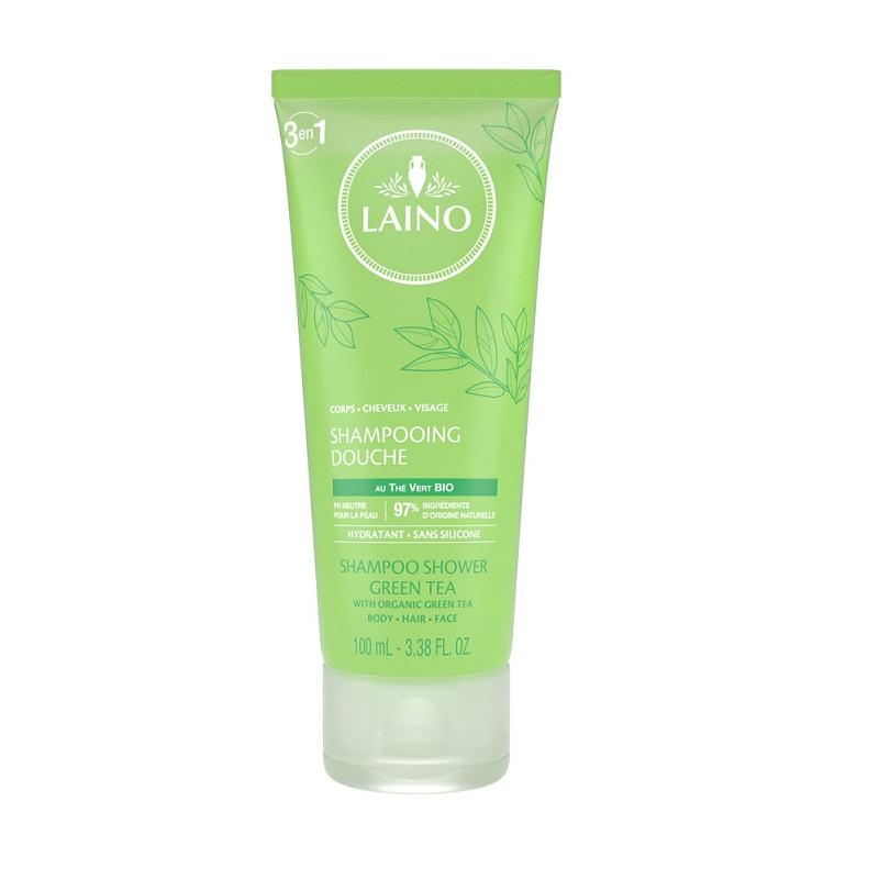 Șampon 3în1 pentru păr, față și corp cu Ceai verde, 100 ml, Laino