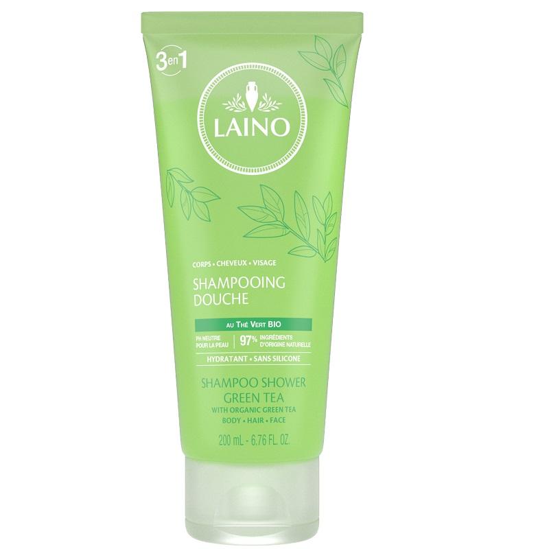 Șampon 3în1 pentru păr, față și corp cu Ceai verde, 200 ml, Laino