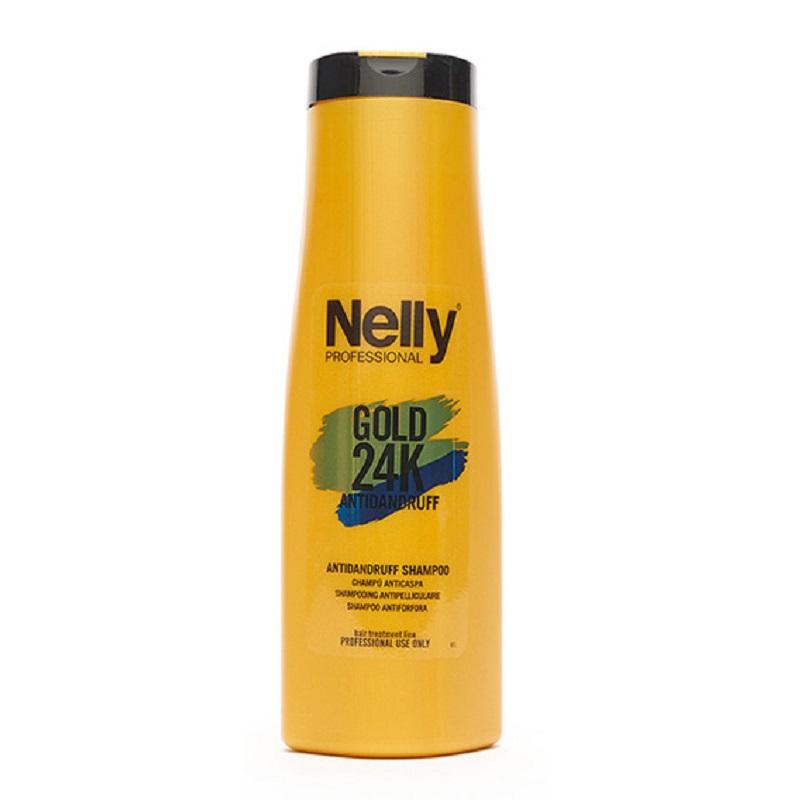 Șampon împotriva mătreții Gold 24K Antidnadruff, 400 ml, Nelly Professional