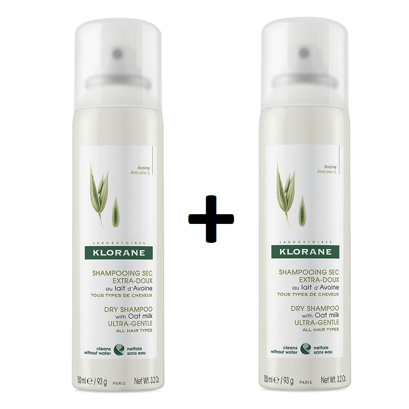 Șampon uscat cu lapte de ovăz, 150 + 150 ml - 70% reducere la al 2 lea produs, Klorane