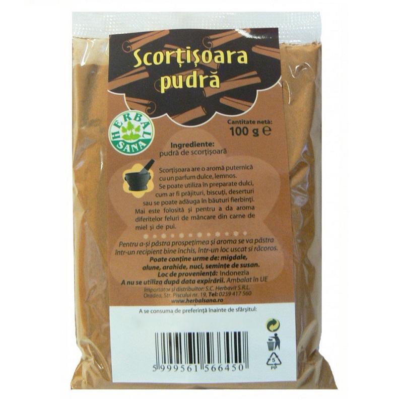 Scorțișoară pudră, 100gr, Herbal Sana