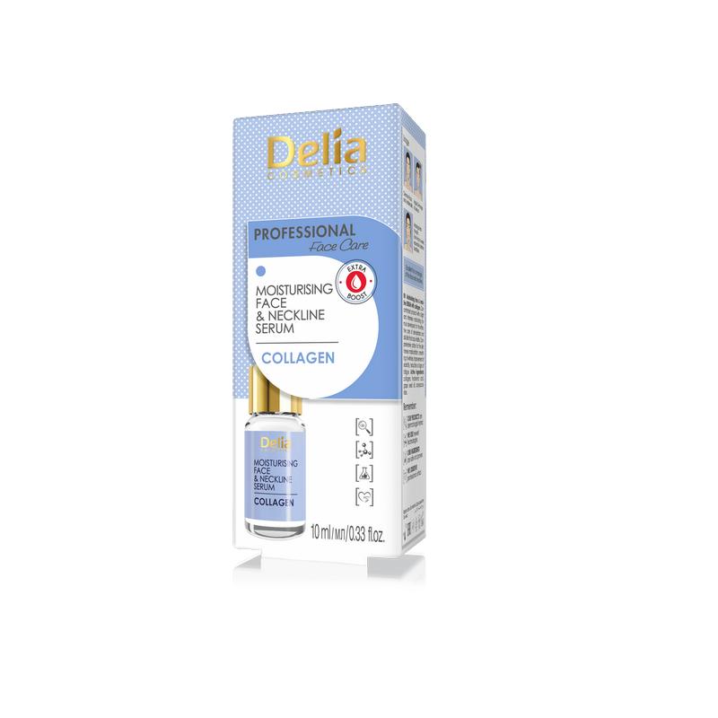 Ser tratament pentru față și decolteu, Hidratant Anti-rid Collagen, 10 ml, Delia Comsetics