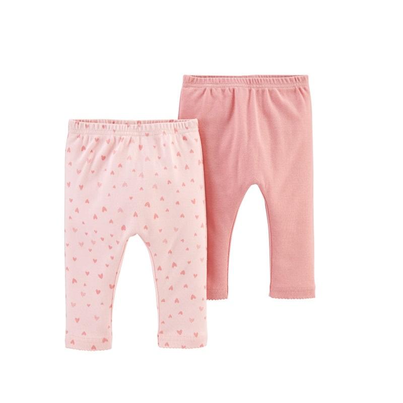 Set 2 piese pantaloni roz, 100% bumbac organic, 12 luni, 1H387410, Carter's