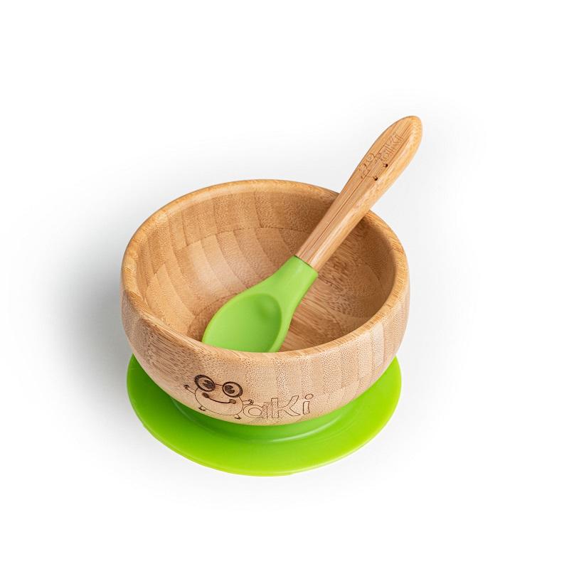 Set castron și linguriță din bambus, Verde, Oaki