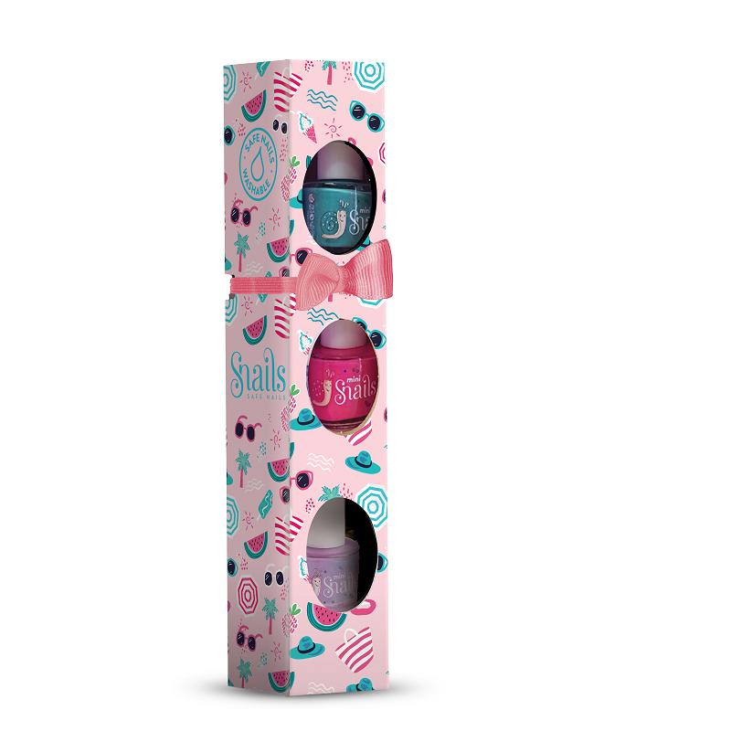 Lac de unghii Ojă pentru copii si cutie Berry Licious, set 3 buc x7ml, Snails