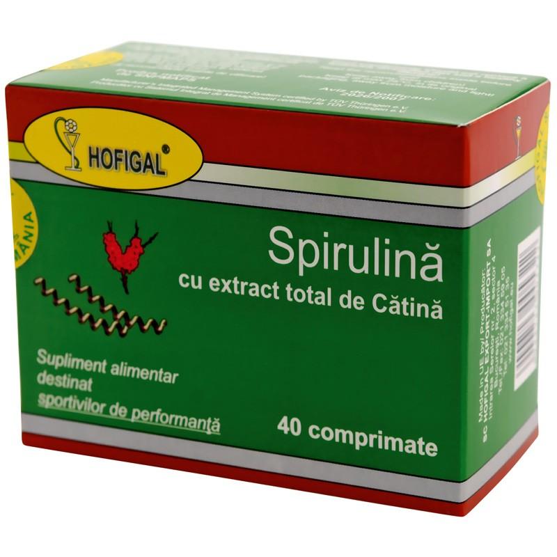 Spirulina 500mg cu extract total de catina, 40 comprimate, Hofigal