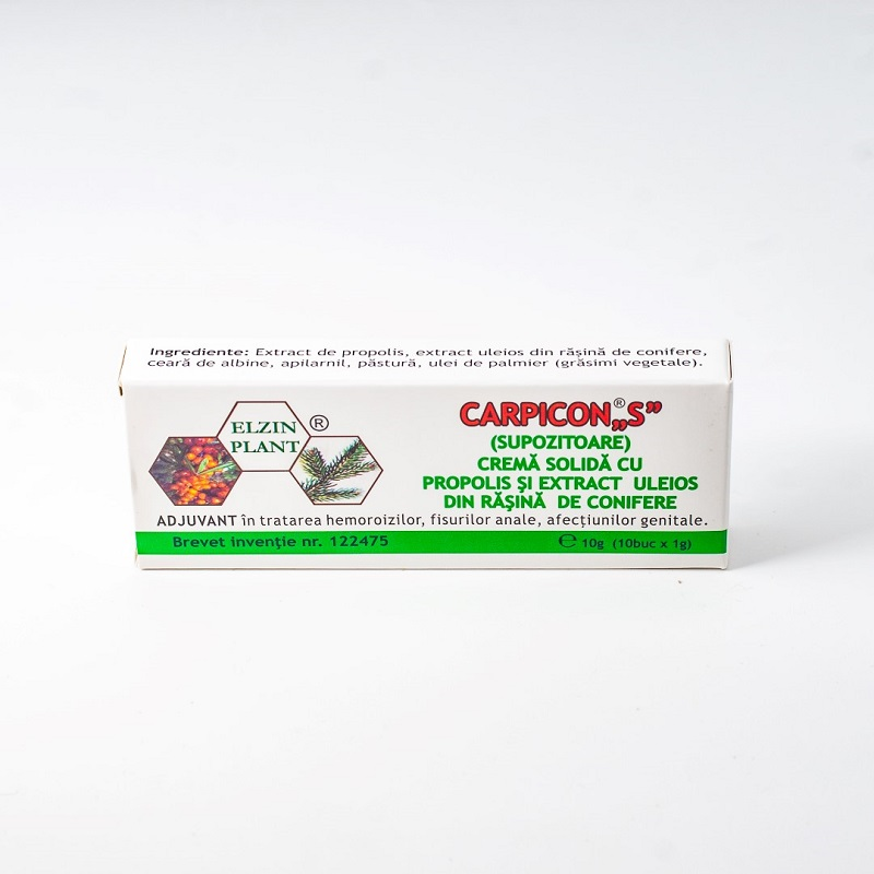 Supozitoare Carpicon S, 10x1.5 g, Elzin Plant