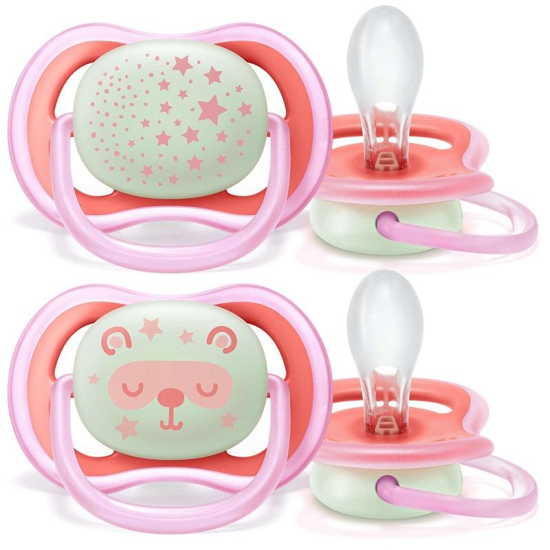 Suzetă ultra air cu inel fosforescent, fete 6-18 luni, 2 buc, SCF37622, Avent