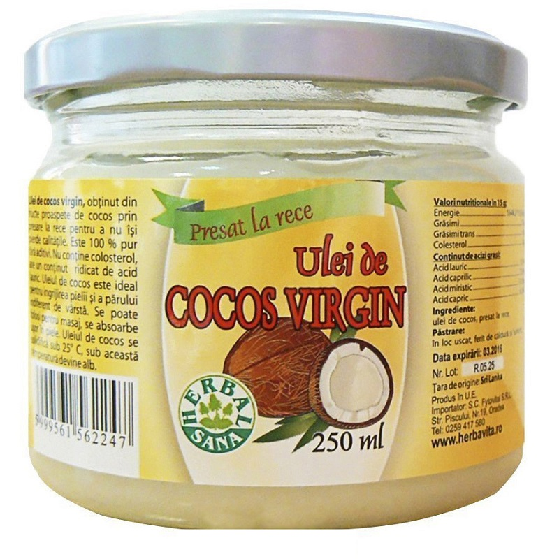 Ulei de cocos virgin, 250 ml, Herbal Sana