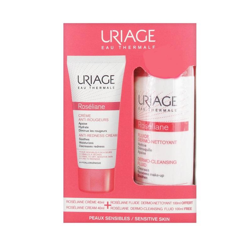 Ofertă  pachet Roseliane, Cremă anti-roșeață 40 ml + Fluid demachiant 100ml, Uriage