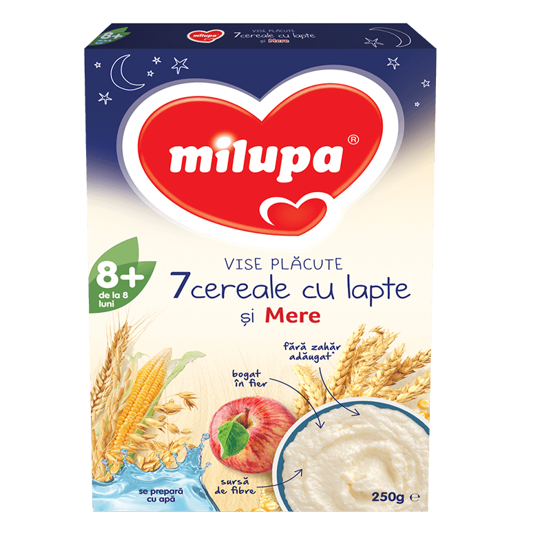 Vise plăcute Cereale Integrale cu Mere, +12 luni, 250g, Milupa