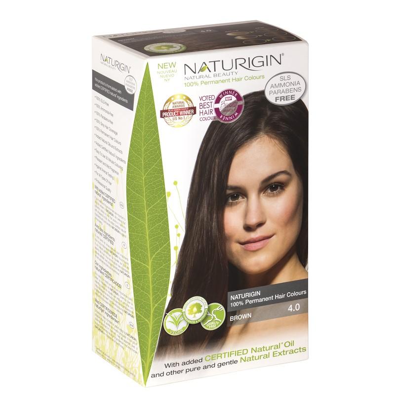 Vopsea pentru păr șaten, 115 ml, nuanța 4.0, Naturigin