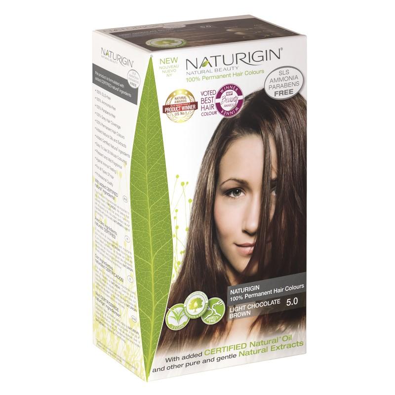 Vopsea pentru păr șaten ciocolatiu deschis, 115 ml, nuanța 5.0, Naturigin