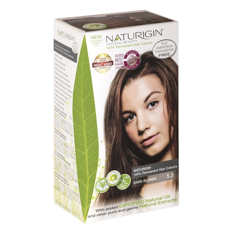 Vopsea pentru păr blond închis, 115 ml, nuanța 5.3, Naturigin