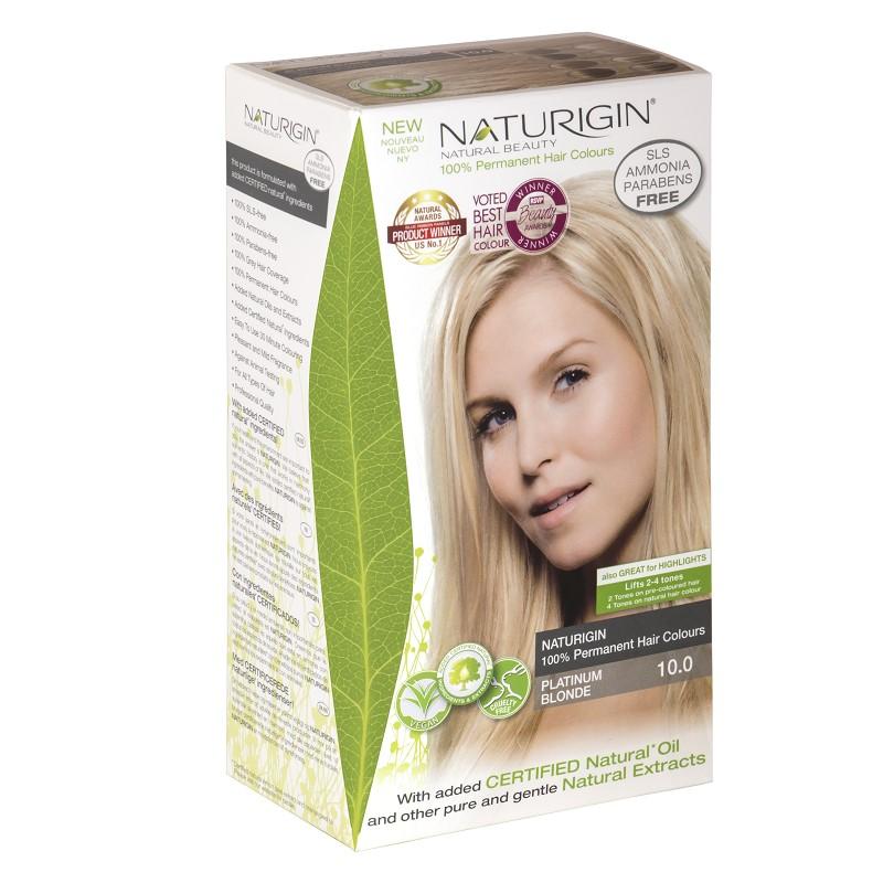 Vopsea pentru păr blond platinat, 115 ml,  nuanța 10.0, Naturigin