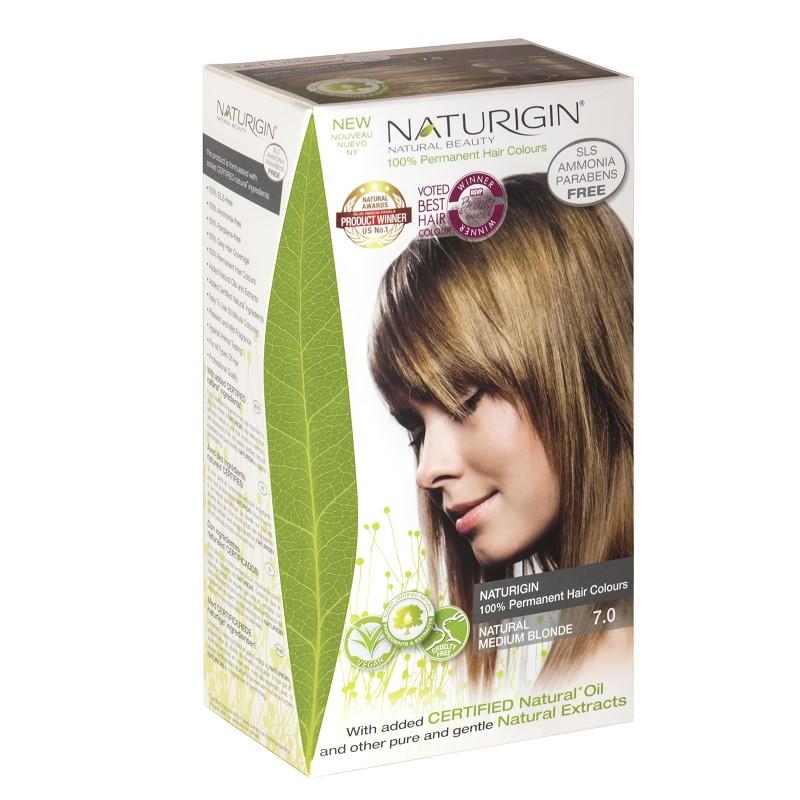 Vopsea pentru păr nuanța 7.0 blond mediu natural, 115 ml, Naturigin