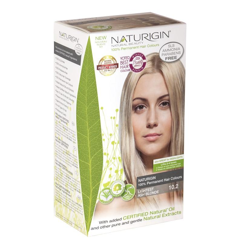 Vopsea pentru păr, nuanță 10.2 blond cenușiu foarte deschis, 115 ml, Naturigin