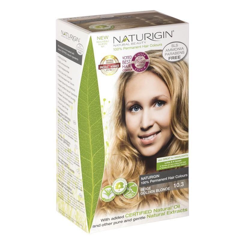Vopsea pentru păr, nuanța 10.3 blond bej auriu, 115 ml, Naturigin