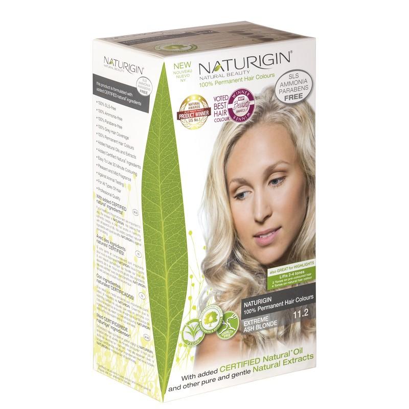 Vopsea pentru păr, nuanța 11.2 blond cenușiu extrem, 115 ml, Naturigin