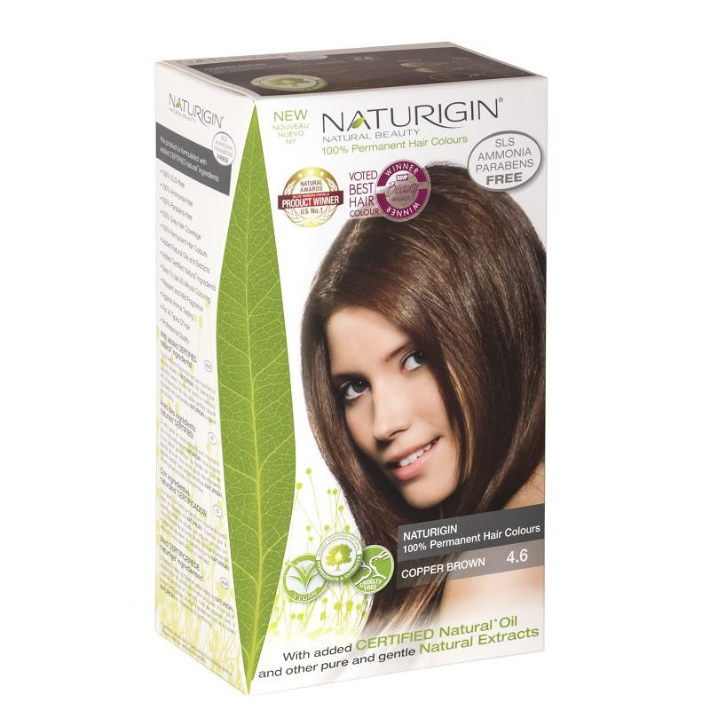 Vopsea pentru păr șaten aramiu, 115 ml,  nuanța 4.6, Naturigin